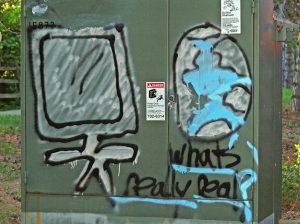 What's Really Real? Graffiti on an electrical box near my home.